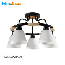 Nordic LED Chandelier Indoor Living Room Decoration Ceiling Lamp E27 Sockets PVC With Wood Iron Lighting Fixture