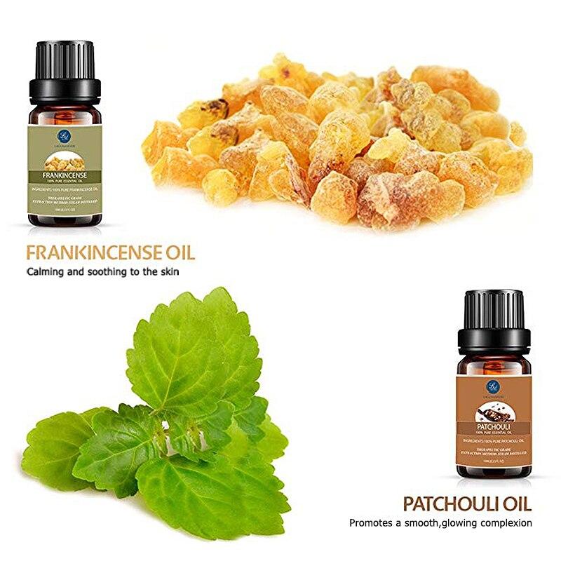 Lagunamoon 10ML 16pcs Gift Set Pure Essential Oil Diffuser Humidifier Massage Aromatherapy Peppermint Orange Lemongrass Orange