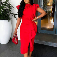 Women Red Dresses Bodycon Ruffles Short Sleeves Split Sexy Party Fashion Event Celebrate Vestidos New Female Clubwear 2021 Robes
