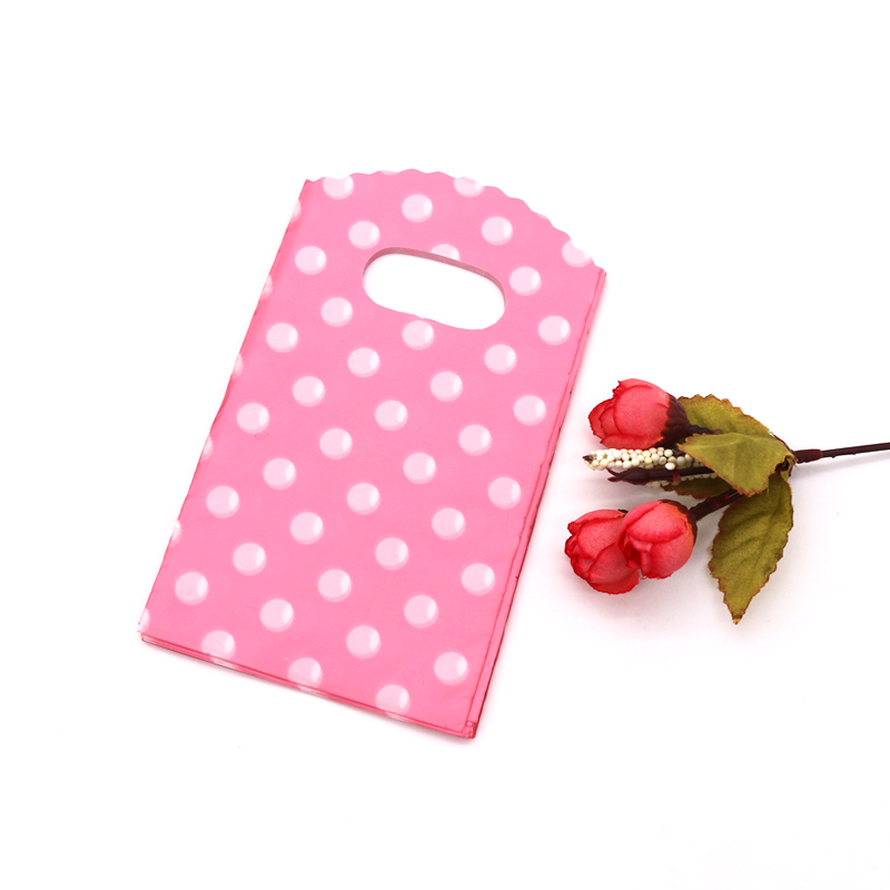 New Design Hot Sale Wholesale 100pcs/lot 9*15cm Pink Mini Plastic Jewelry Accessory Pouches With Dot Small Gift Packaging Bags