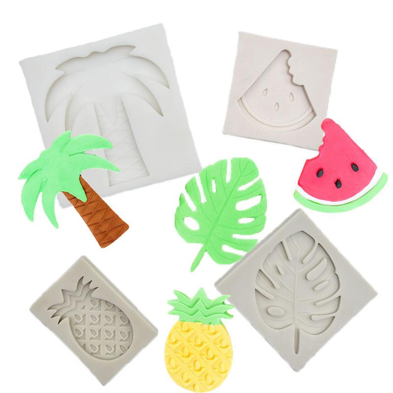 Soap Epoxxy Resin Molds Pineapple, Watermelon, Coconut Palm, Turtle Leaf Concrete Decorative DIY Handmade UV Fondant Cake Mold