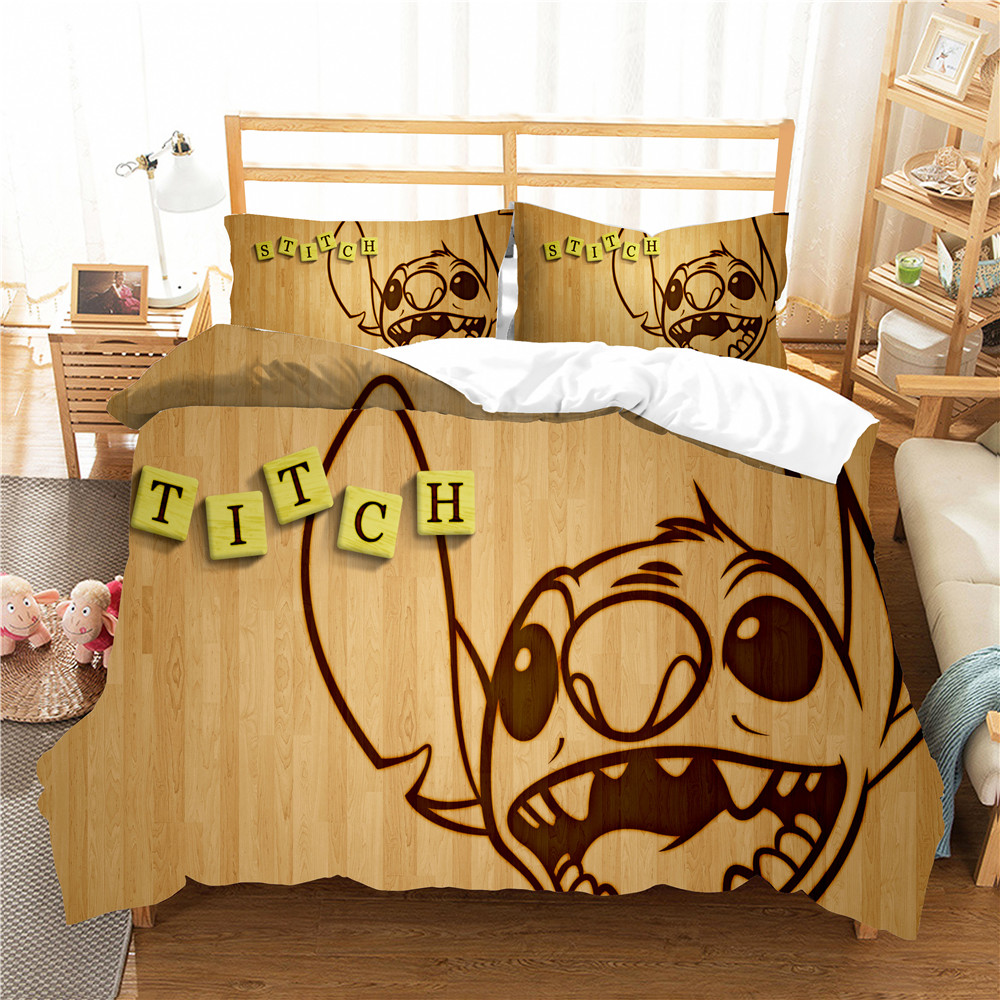 Disney Lilo & Stitch Bedding Set Home Textiles Boys Girls Birthday Gifts Bed Linings Duvet Cover with Pillowcases Children Decor