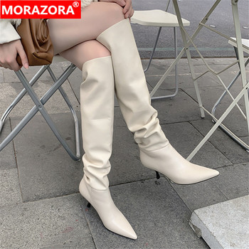 MORAZORA 2020 Size 33-43 Genuine Leather women boots stiletto heels pointed toe ladies shoes winter solid color knee high