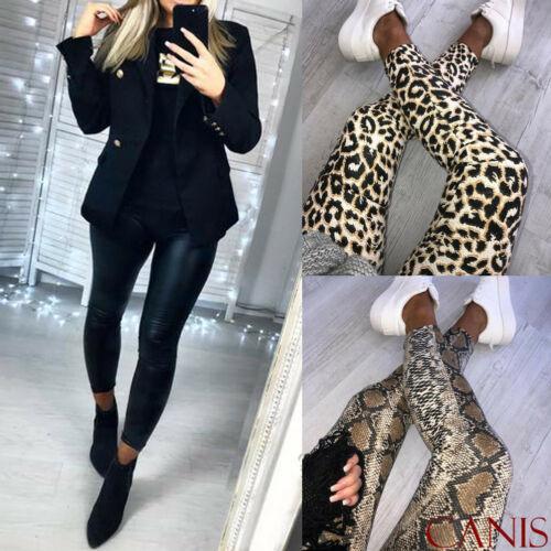 Womens Ladies Leopard Snake Animal Print High Waist Stretchy Leggings Skinny Pants