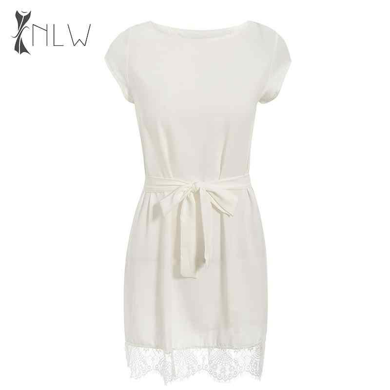 NLW décontracté blanc dentelle robe femmes automne sans manches solide Mini robe 2019 femme ceinture élégante robe courte Vestidos grande taille