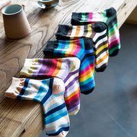5 Pairs Women Rainbow Horizontal Stripes Cotton Crew Socks Colorblock Hosiery 95AB