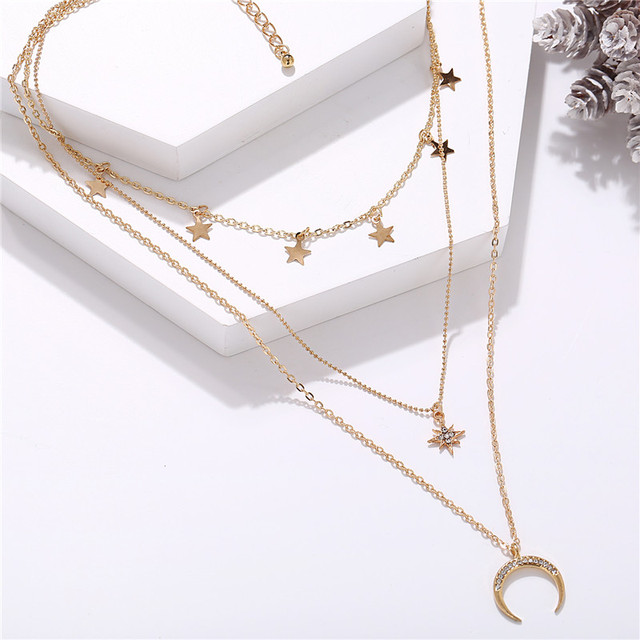 IF ME Vintage Multi Layered Necklace For Women Bohemian Coin Star Moon Geometric Chain Round Pendant Necklace Collar Jewelry New