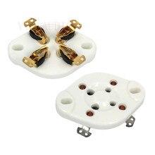 2 adet 4Pins DIY seramik vakumlu tüp soket GZC4 1 için 2A3 300B FU 811 274A 572B elektronik tüp soketi ses amplifikatörü HIFI DIY