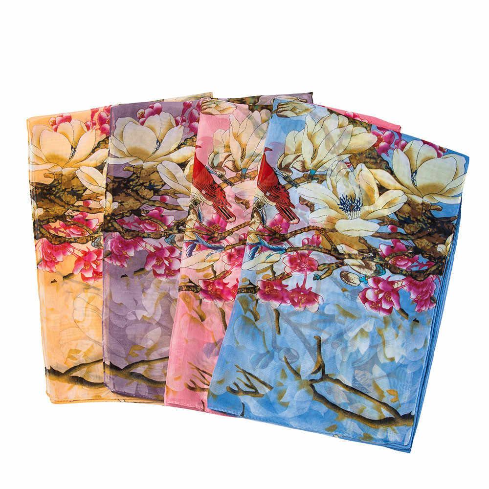 Осенне-зимний женский Шарф Модный цветочный принт шифоновый мусульманский шарф шаль мягкий женский длинный Снуды