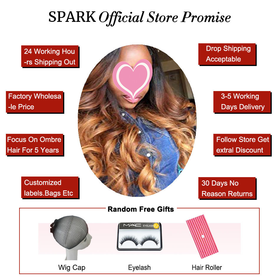 Spark Ombre Brazilian Loose Wave Bundles with Closure Free Part Remy Hair Extension 1B/4/30 Human Hair Bundle with Lace Closure 4