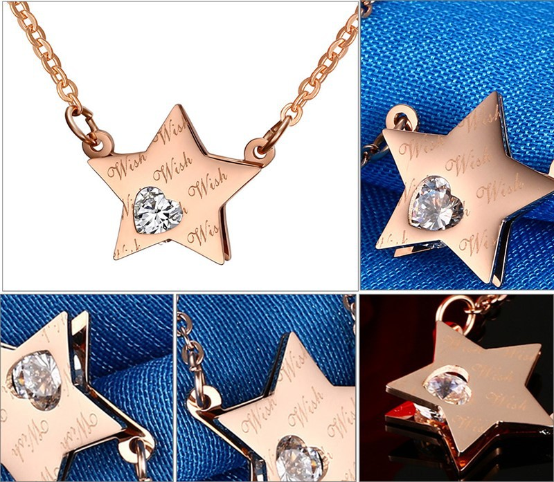 RUIYI VBB39 necklace hot sell popular man woman 13mm Five-pointed star shape rose color lover gift women Korea style