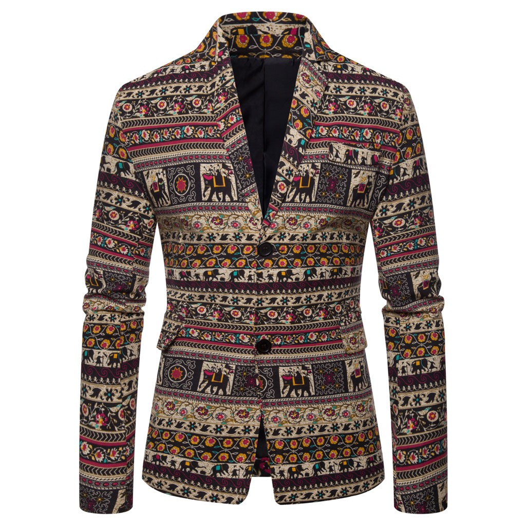 Mens Casual Vintage Ethnic Printed Dress Floral Suit Slim Fit Blazer Jacket Casual Blazer Coat Men Brand Outwear Jacket 10.31