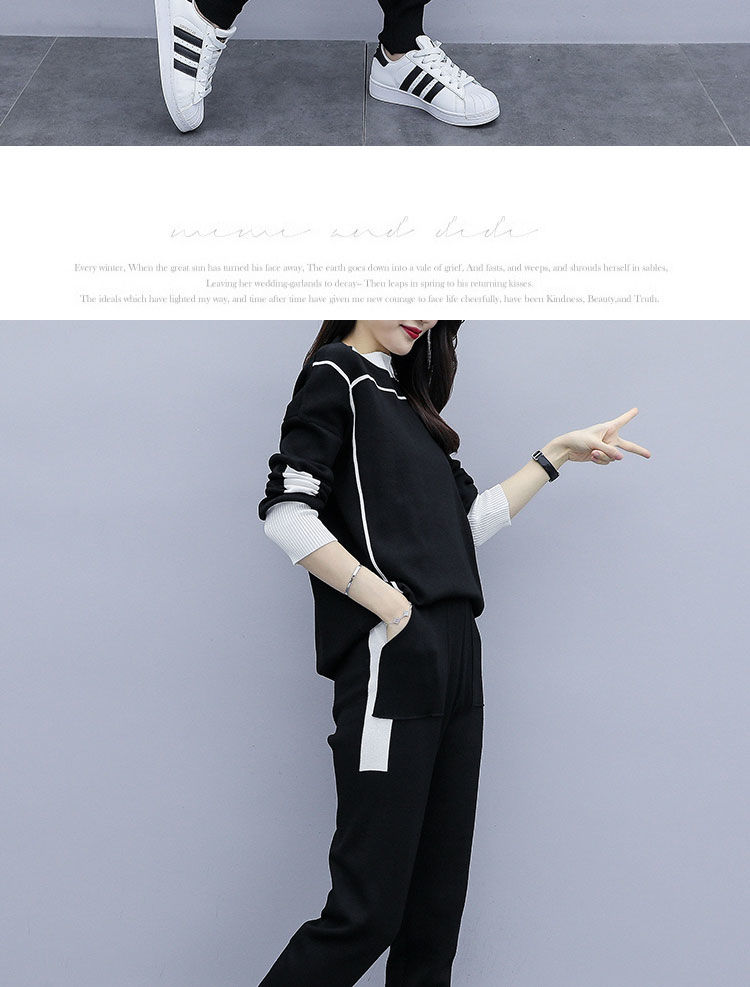 2019 Autumn Black Knitted Two Piece Sets Outfits Women Plus Size Long Sleeve Tops And Pants Suits Casual Fashion Korean Sets 33