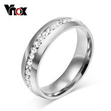 Vnox однорядные Кристалл камень кольцо для Для женщин Нержавеющая