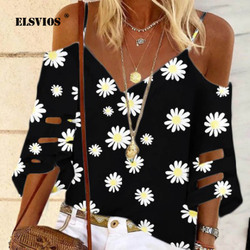 5XL Daisy Print V-hals Elegante Blouse Shirt Vrouwen 2020 Zomer Off Shoulder Flare Mouwen Mesh Patchwork Tops Femme Lente blouses