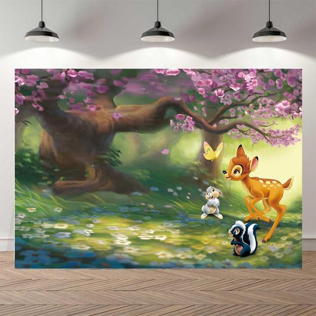 Neoback春の妖精花ツリー鹿ウサギの王女子供写真撮影の背景誕生日スタジオ写真の背景バナー