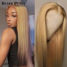 Perruque Bob Lace Front wig brésilienne naturelle – Black Pearl, cheveux lisses, blond miel, 4*4, avec Closure