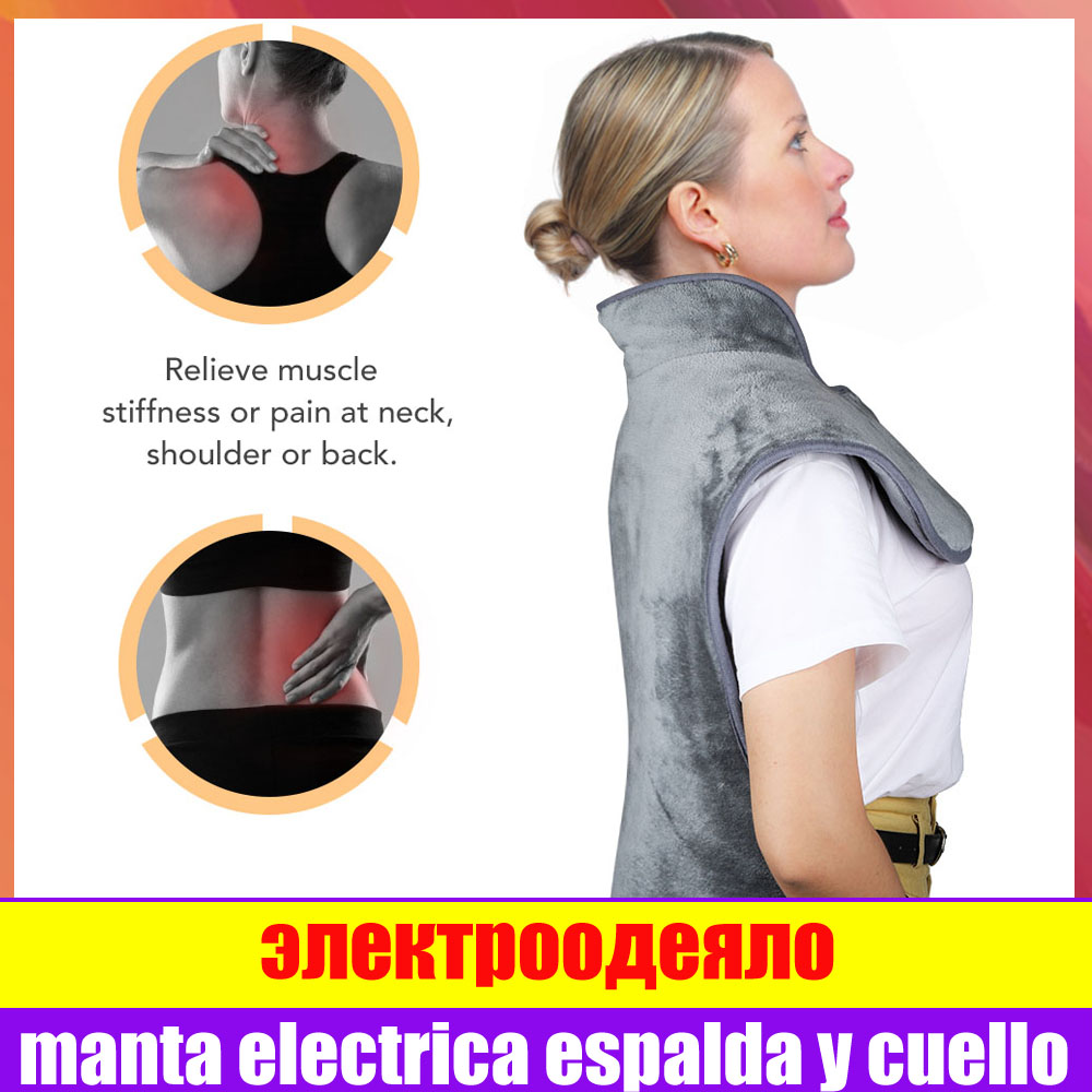 Electric Back Neck Heating Pad Shoulder Pain Relief Fast Heat Therapy Cape Washable Heating Blanket With Overheat Protection