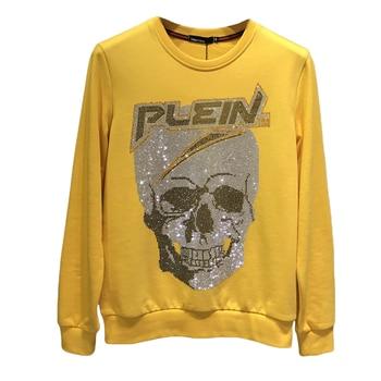 2019 New Arrival Regular Winter Men Hot Drill Collar Popular Logo With Velvet O-neck Skulls Cotton Hip Hop Sweatshirt Hoodie