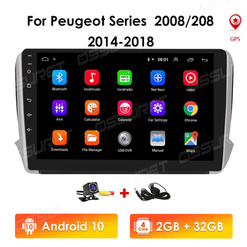 2G+32G 9Inch 2 Din Android 10 Car radio Multimedia Video Player auto Stereo For Peugeot 2008 208 Series 2014-2018 GPS Navigation image