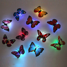1pcs Beautiful Butterfly LED Luminous Light Lamp with Suction Pad Butterfly Toys for Children Home Theme Party Decoration Toys(China)