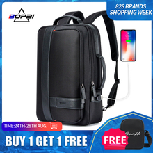BOPAI Male Bags Fashion USB Charging Backpack for Men Business Travel 15.6 Inch Computer Backpack Mens Casual Working Daypacks