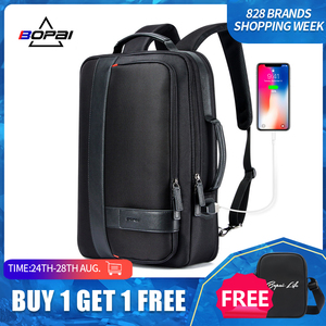 Image 1 - BOPAI Male Bags Fashion USB Charging Backpack for Men Business Travel 15.6 Inch Computer Backpack Mens Casual Working Daypacks
