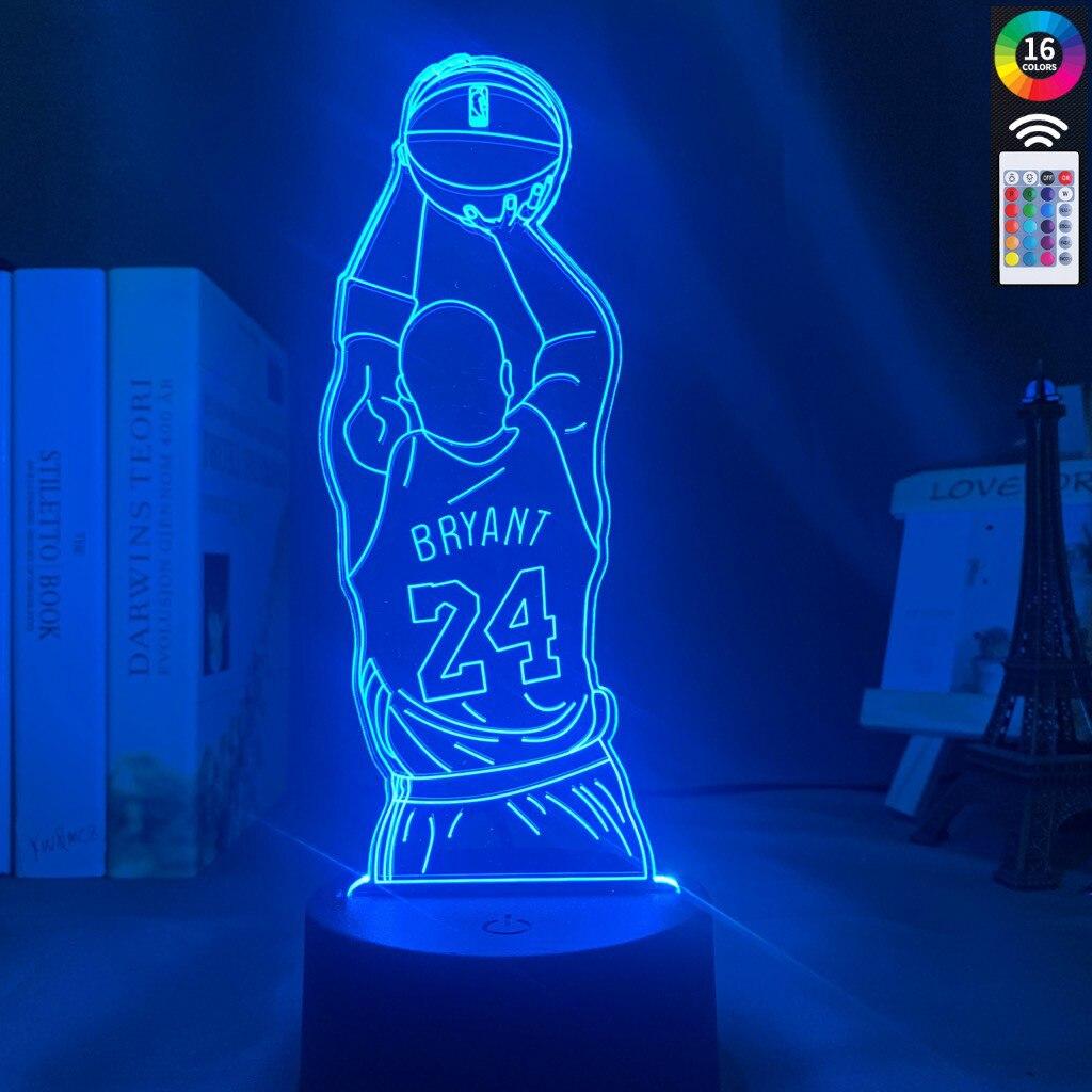 Led Night Light Kobe Jump Shoot Figure Back View Bedroom Decor Nightlight Desk 3d Lamp Dropshipping Kobe Bryant Memorial Gifts