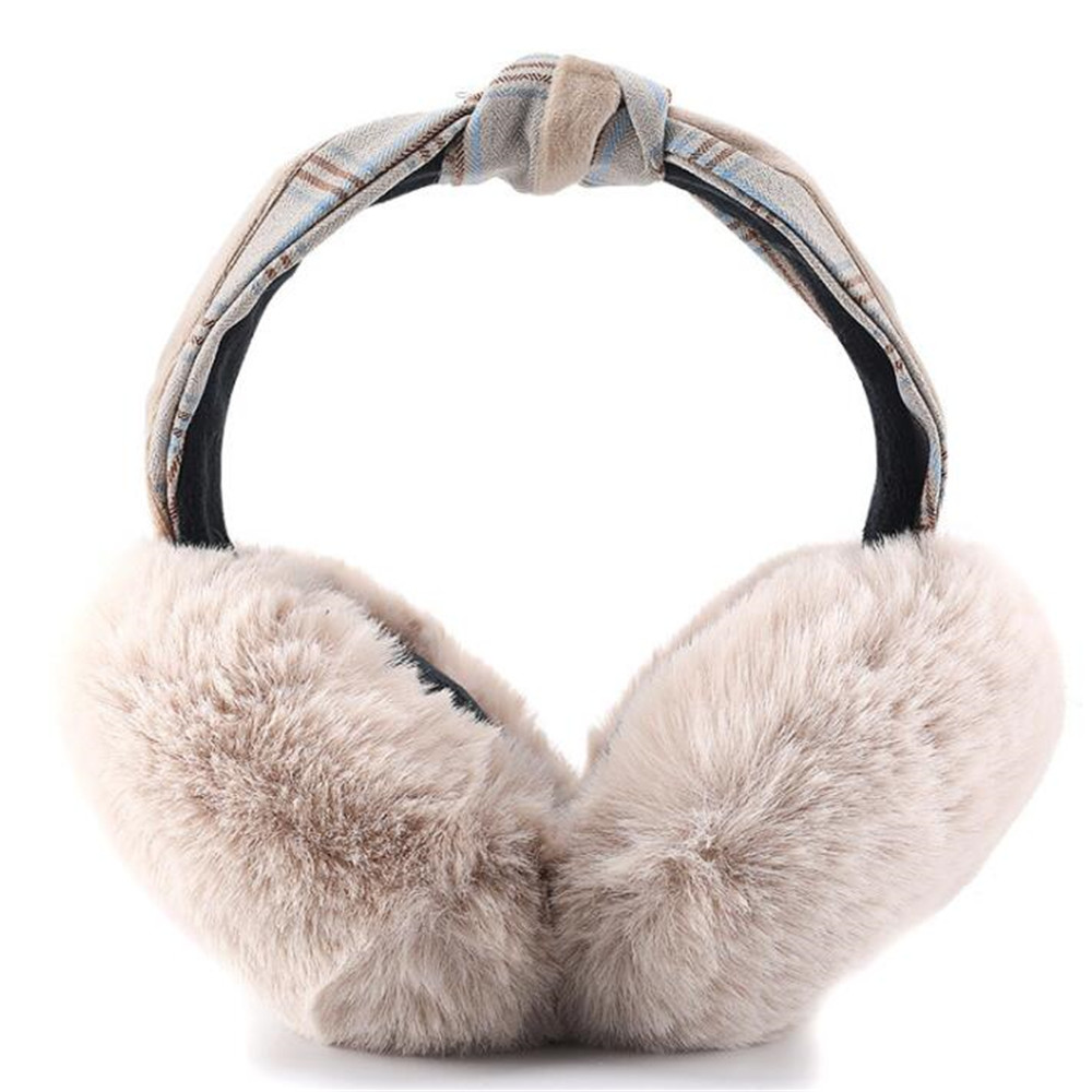 Women Solid Faux Fur Earmuffs With Plaid Tweed Bow Band Ladies Girls Soft Thick Fur Ear Muffs Female Warm Winter Headband Hat