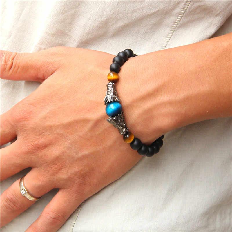 Królewski niebieski tygrysie oko kamień bransoletki tradycyjne starożytnej srebrny smok Charm bransoletka mężczyzn matowy czarny onyks elastyczne kobiety bransoletki