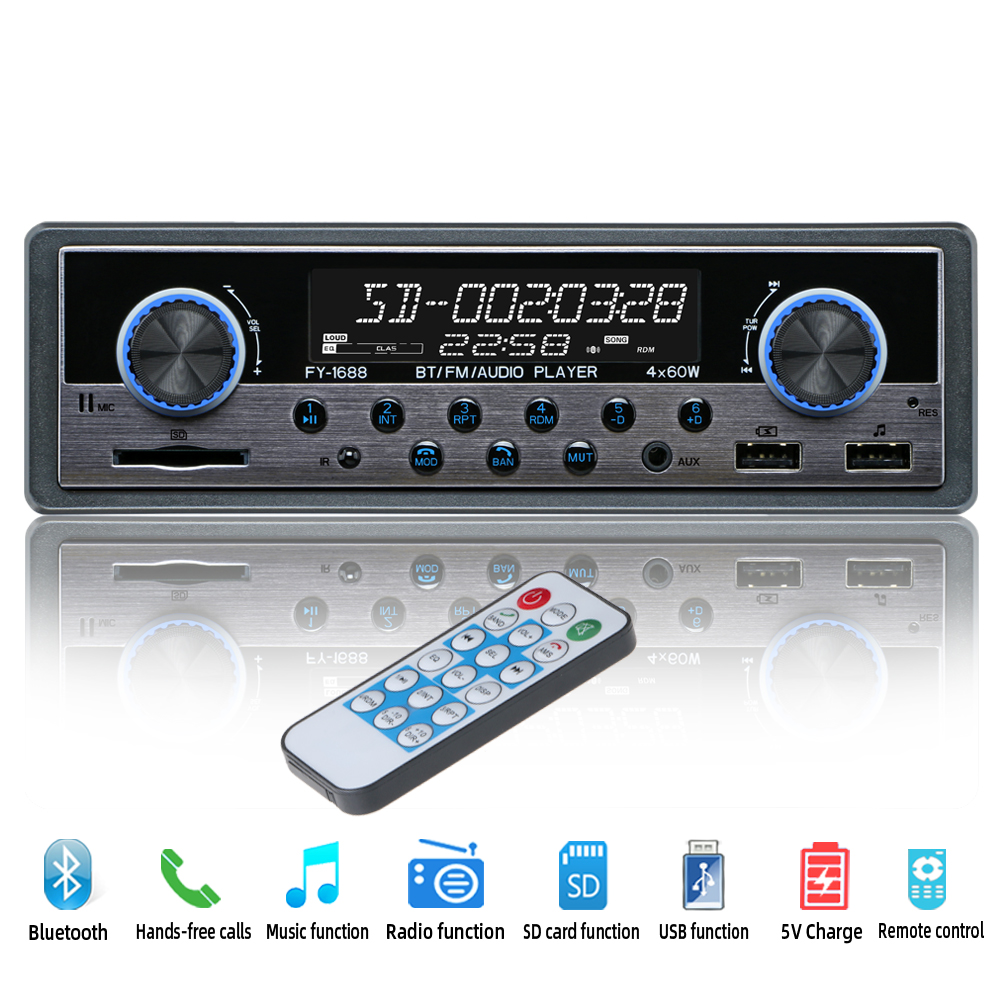 Autoradio Car Radio Coche Aux bluetooth FM Stereo Audio MP3 Receiver USB Radios Para Auto Electronics 1 din Car Multimedia Playe