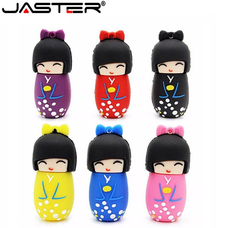 JASTER 64GB Cartoon Red Pink Black Blue Purple Colour Mini Japanese Dollusb Flash Drive Usb2.0 4GB 8GB 16GB 32GB Pendrive
