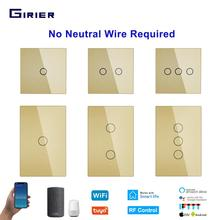 Wifi Smart Touch Switch Single Live Wire 170-240V EU/US 1/2/3 Gang No Neutral Required Tuya Remote Control for Alexa