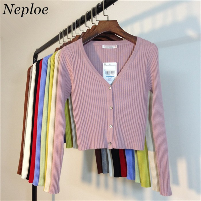Neploe Spring Newly Patchwork Women Cardigans 2021 Fashion Slim Ladies Knitted Sweater Long Sleeve Buttons Sweater 65057