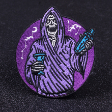 Pulaqi Grim Reaper Cloth Patches Nirvana Band Patch Embroidered Iron on For Clothing Rock Bands Badges Applique