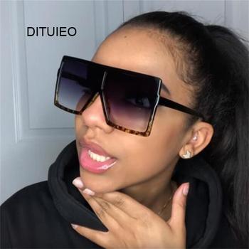 Ponadgabarytowe odcienie damskie okulary czarne mody kwadratowe okulary duże oprawki okulary w stylu Retro Vintage kobieta Unisex óculos Feminino tanie i dobre opinie DITUIEO WOMEN SQUARE Dla dorosłych Z tworzywa sztucznego Lustro Antyrefleksyjną UV400 63mm Akrylowe