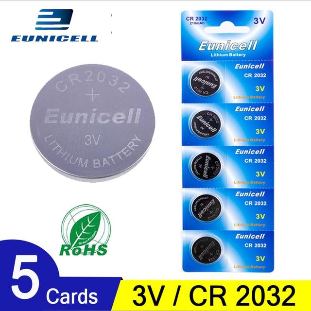 5pcs 210mAh เซลล์แบตเตอรี่ปุ่ม CR2032 DL2032 CR 2032 KCR2032 5004LC ECR2032 3V แบตเตอรี่ลิเธียมนาฬิกาของเล่น LED LIGHT