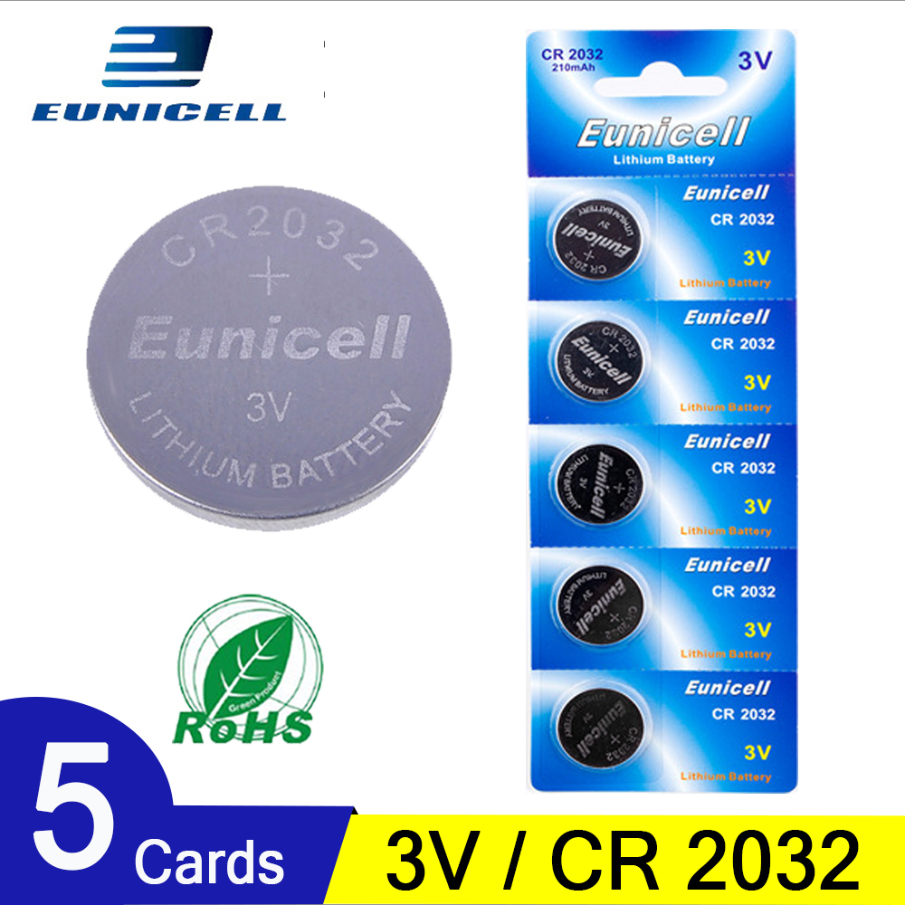 5pcs 210mAh Cell Coin Button Batteries CR2032 DL2032 CR 2032 KCR2032 5004LC ECR2032  3V Lithium Battery For Watch Toys LED Light