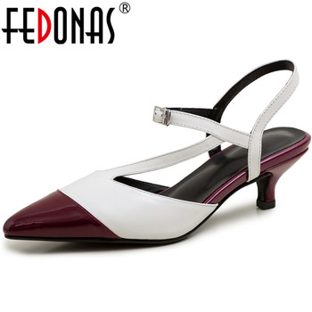FEDONAS Women Pointed Toe High Heeled Cow Leather Women Sandals Cross-Tied Working Shoes Summer High Quality Shoes Woman