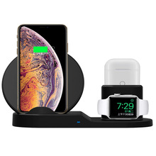 3 in 1 10W Fast Wireless Charger Dock Station Charging For Apple Watch 2 4 AirPods iPhone XR XS Max 8 Samsung S9 S8 7