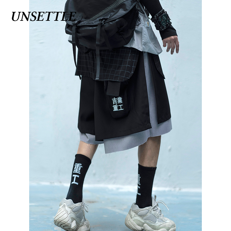 UNSETTLE 2020SS Harajuku Patchwork Fake Two Pieces Shorts Mens Casual Summer Hip Hop Baggy Streetwear  Male Joggers Short pants