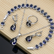 Silver Color  Jewelry Set Blue Stone White CZ Costume For Women Drop Stones Earrings Rings Bracelet Necklace Set Dropshipping