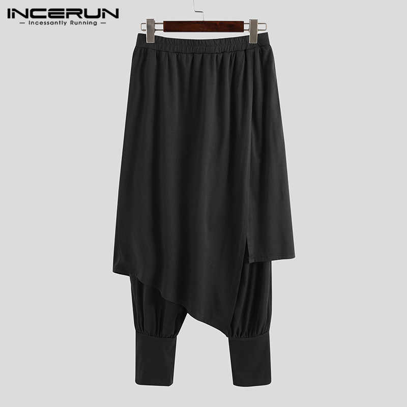 Moda para hombre INCERUN, pantalones bombachos estampados, pantalones irregulares Punk de cintura elástica, ropa de calle para hombre, faldas, pantalones Harajuku S-5XL 7