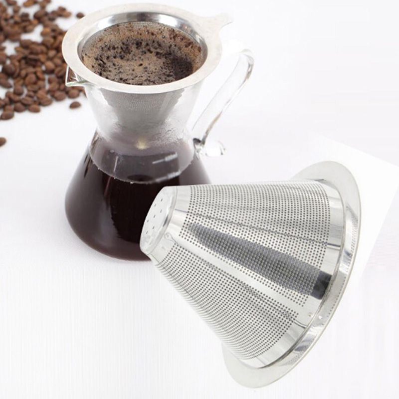 Double Coffee Filter Layer Mesh Cone Funnel Stainless Steel Metal Mesh Coffees Tea Filter Basket Tools Coffee Dripper filter in Coffee Filters from Home Garden