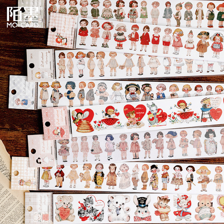 Mohamm 1Pcs Doll Organizer Series Decoration Tape Cute Retro   Washi Masking Creative Scrapbooking Stationary School Supplies