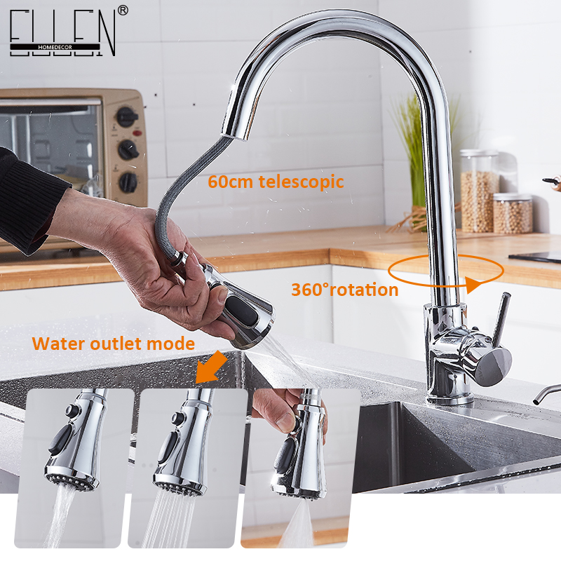 Kitchen Faucets  Pull Out Kitchen Mixer Tap With Strong Spray Swivel 360 Degree  Hot And Cold Water Mixer Tap ELK5408