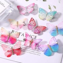 Xugar Hair Accessories 2Pcs Imitation Butterfly Girls Clips Multicolor Sweet Princess Hairpins Korea Children Barrettes