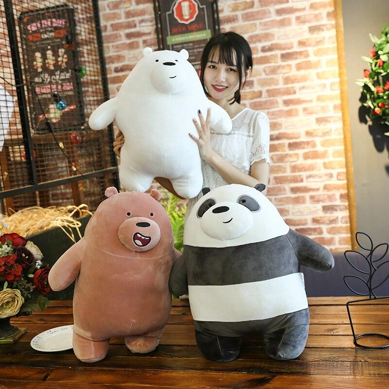 Anime Cartoon The Three Bare Bears Very Soft Plush Doll Cute Standing Panda Polar Bear Teddy Stuffed Toys Decoration Gifts