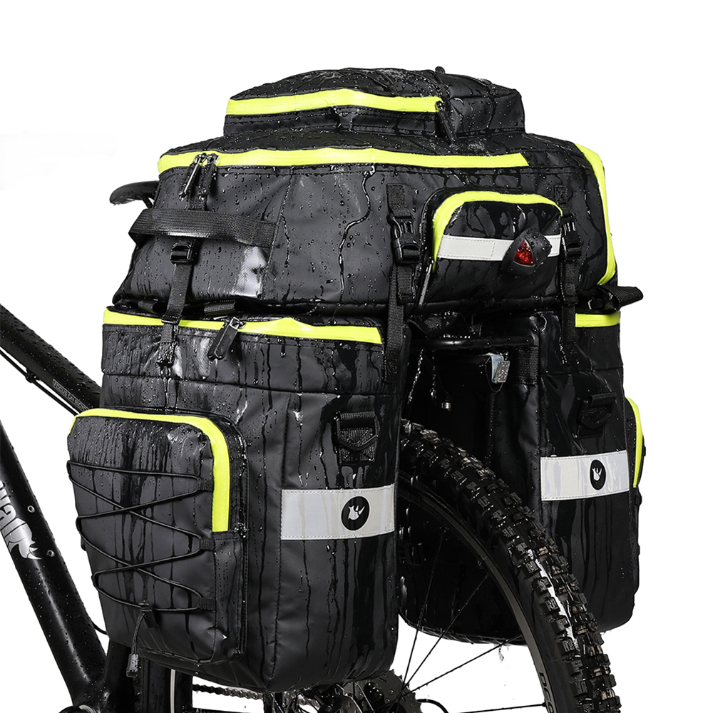 75l Motorbike Rear Seat Trunk Bag 3 In 1 Larger Capacity Bicycle Pannier Waterproof Two Side Bags Tail Cycling Luggage Carrier Elegant And Graceful