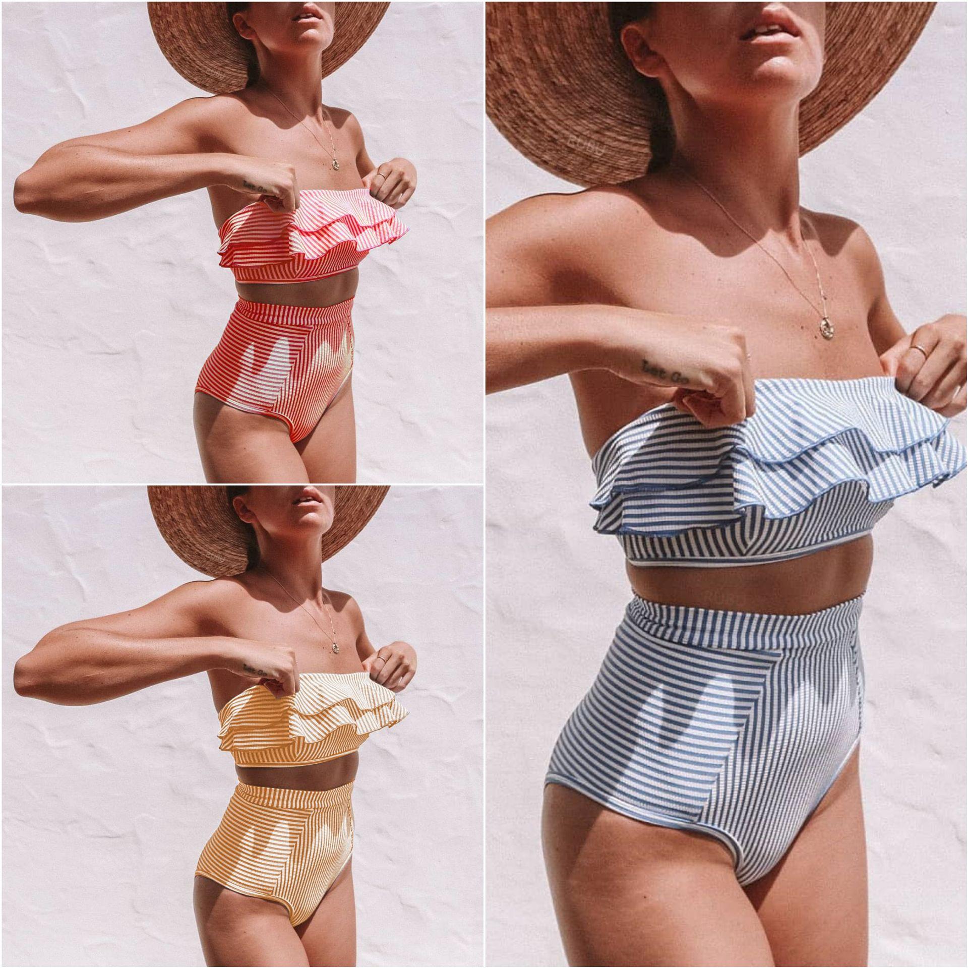 Sexy Retro Blue White Striped Bandeau High Waist Bikini 2019 Lady Swimwear Women Swimsuit Female Ruffle Sexy Retro Blue White Striped Bandeau High Waist Bikini 2019 Lady Swimwear Women Swimsuit Female Ruffle Ruched Swim Bathing Suit